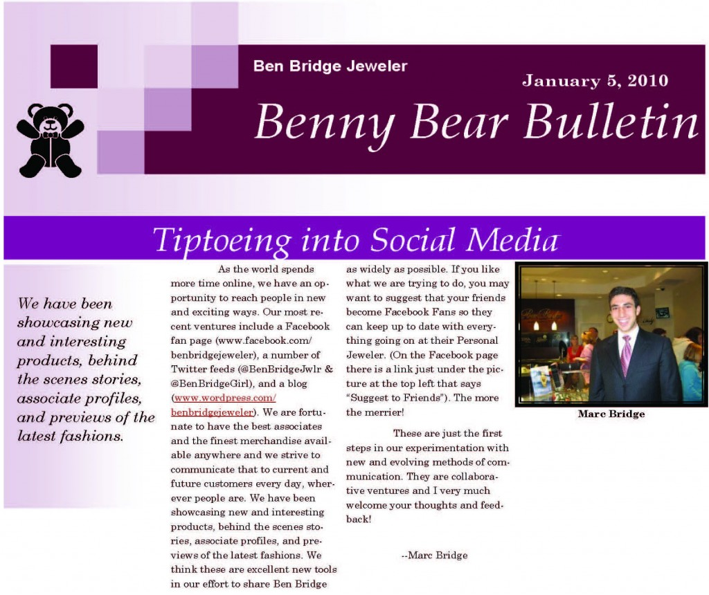 Benny Bear bulletin Jan 2010 page 1 cropped